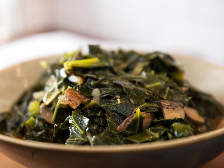 Collard Greens Vegetarian Recipes  Vegan Southern Style Collard Greens With Mushrooms Recipe