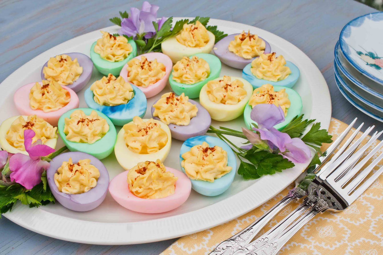 Colored Deviled Eggs For Easter  For the Love of Food Colored Deviled Eggs