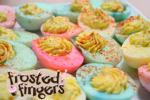 Colored Easter Deviled Eggs  Easter Deviled Eggs Frosted Fingers