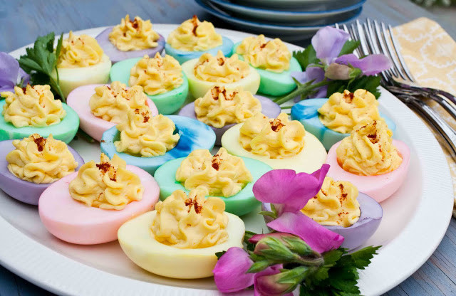 Colored Easter Deviled Eggs  30 Creative Deviled Egg And Hard Boiled Egg Holiday Ideas