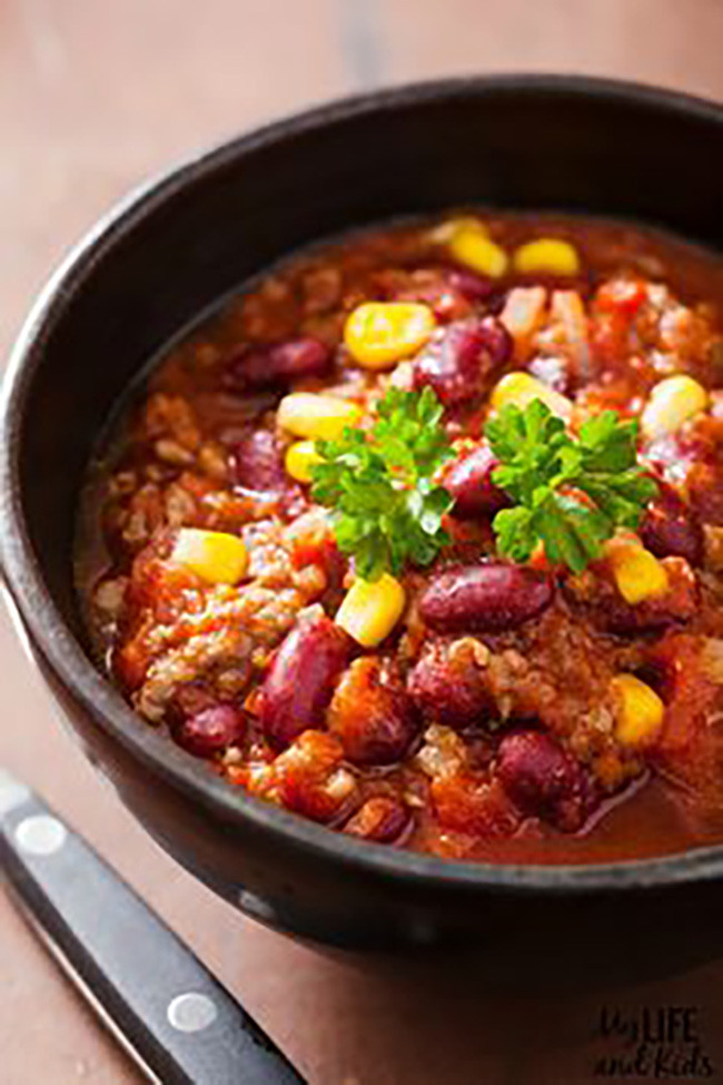 Crockpot Chili Vegetarian  15 Easy Ve arian Recipes My Life and Kids