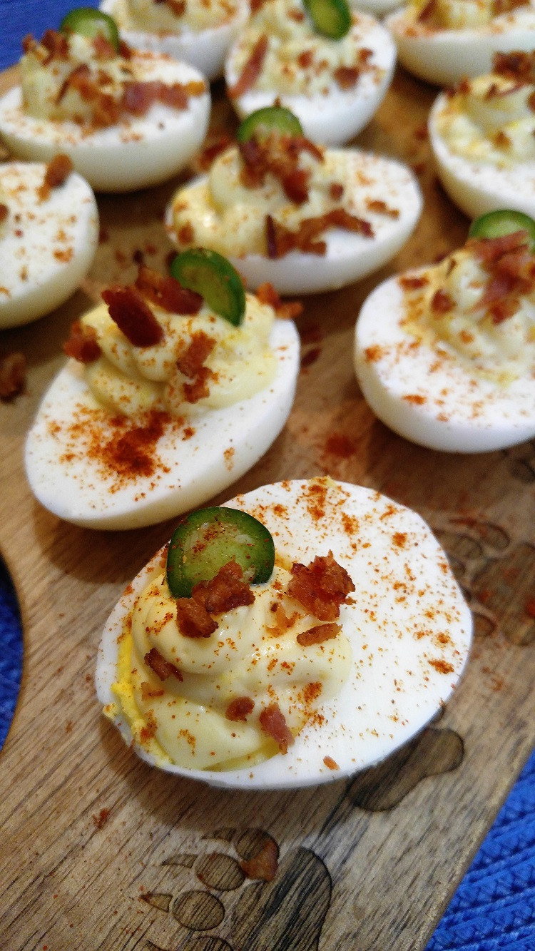 Dairy Free Deviled Eggs  Gluten Free Deviled Eggs with Bacon & Jalapeno