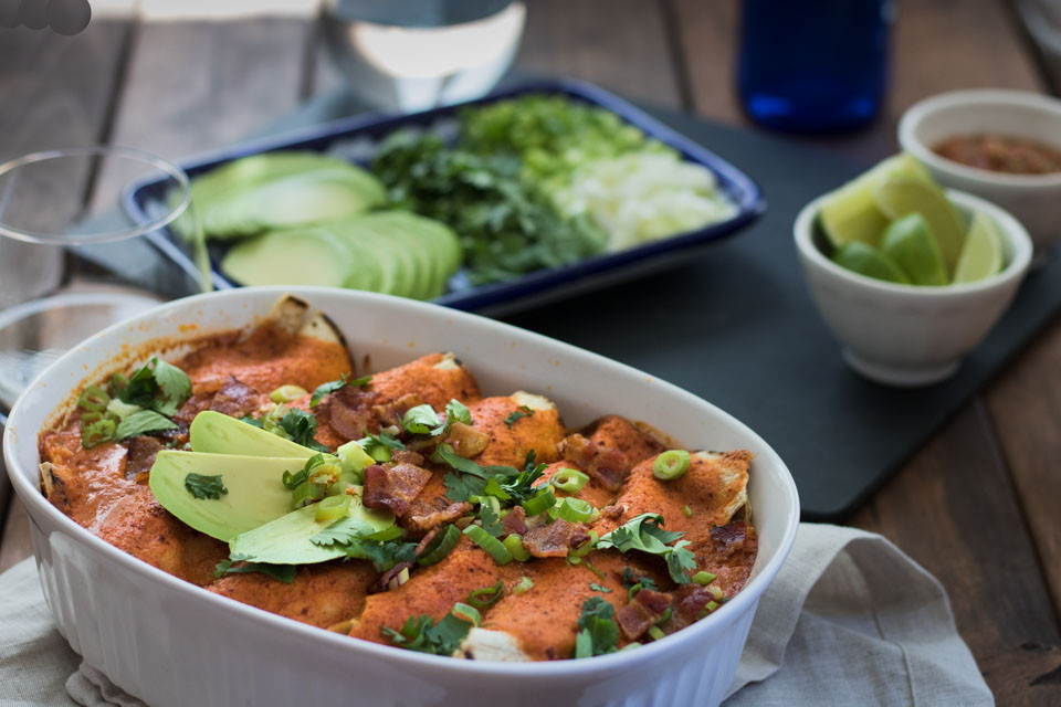 Dairy Free Enchiladas  Dairy Free Chicken Enchiladas with Chipotle and Bacon