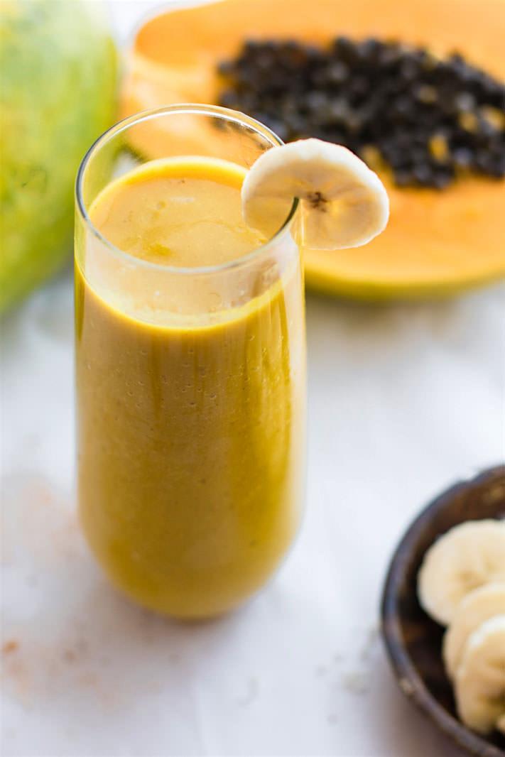 Dairy Free Fruit Smoothies  Healthy Turmeric Golden Milk Vegan Tropical Smoothie