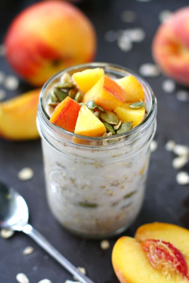 Dairy Free Overnight Oats  Dairy Free Overnight Oats with Peaches The Pretty Bee