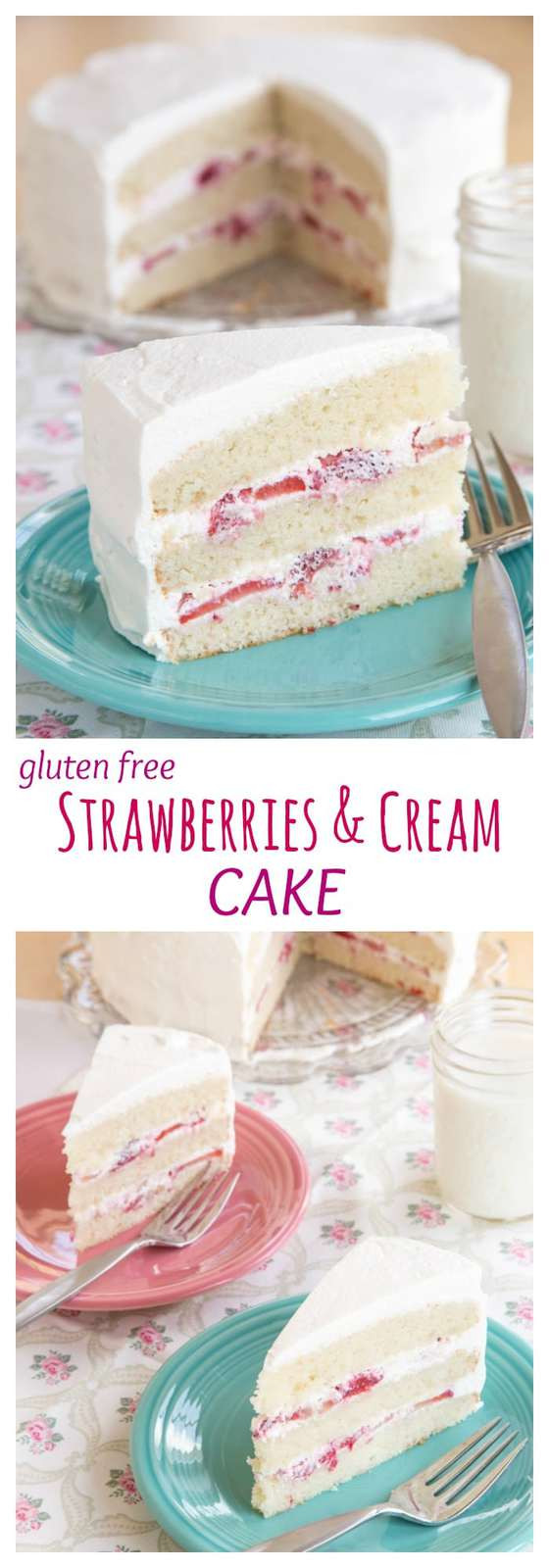 Dairy Free White Cake Recipe  Gluten Free Strawberries and Cream Cake for SundaySupper