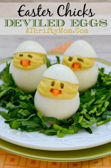 Deviled Eggs Easter Chicks  Egg Recipes for Easter uses for leftover Easter eggs