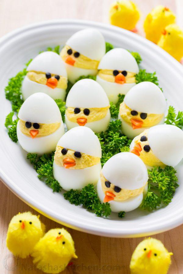 Deviled Eggs Easter Chicks  Easter Egg Recipe Deviled Egg Chicks NatashasKitchen