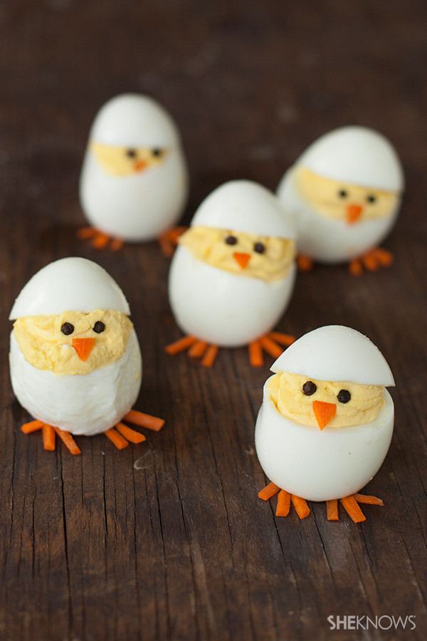 Deviled Eggs Easter Chicks  Turn deviled eggs into adorable hatching chicks