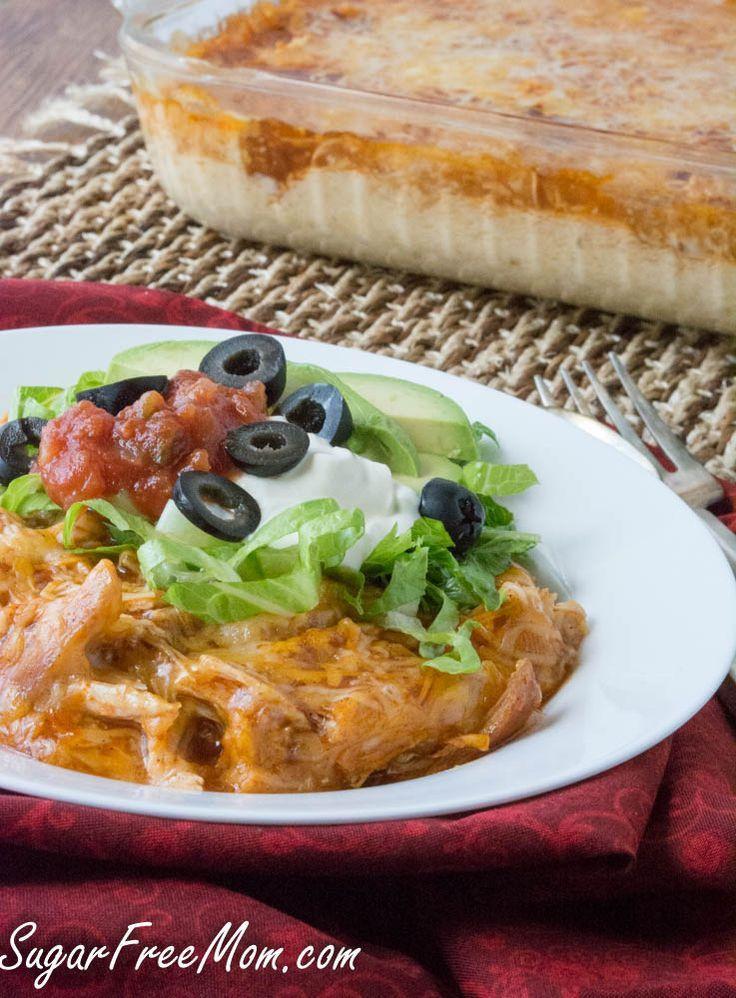 Diabetic Chicken Enchiladas  Chicken Enchilada Cauliflower Casserole Low Carb and