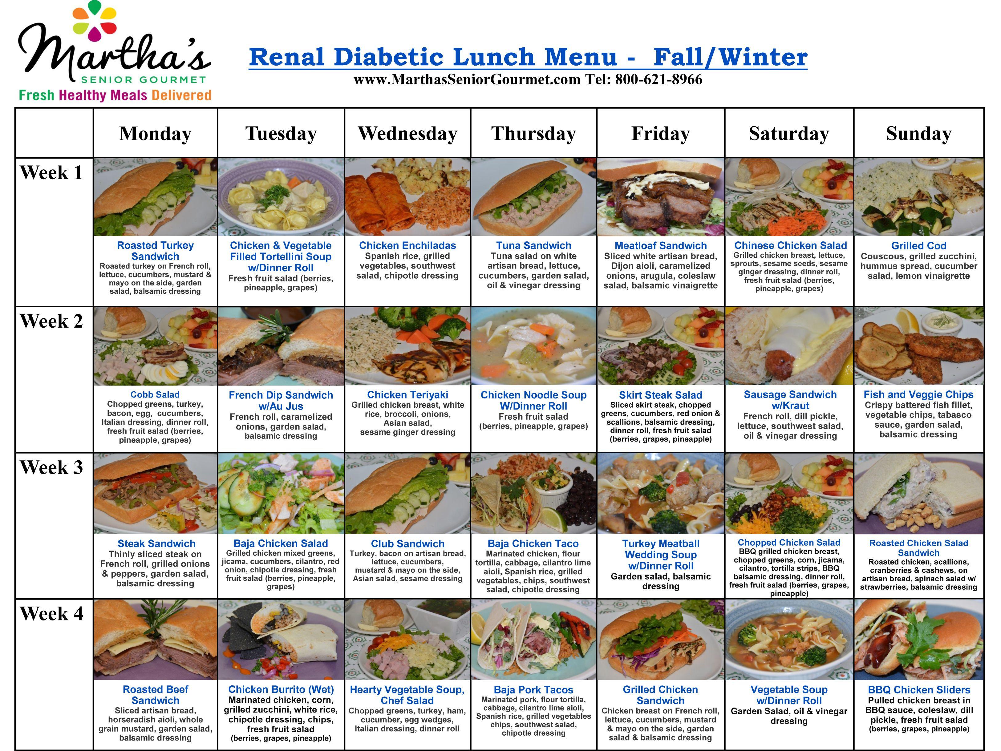Diabetic Menu Recipes  Renal Diabetic Menu