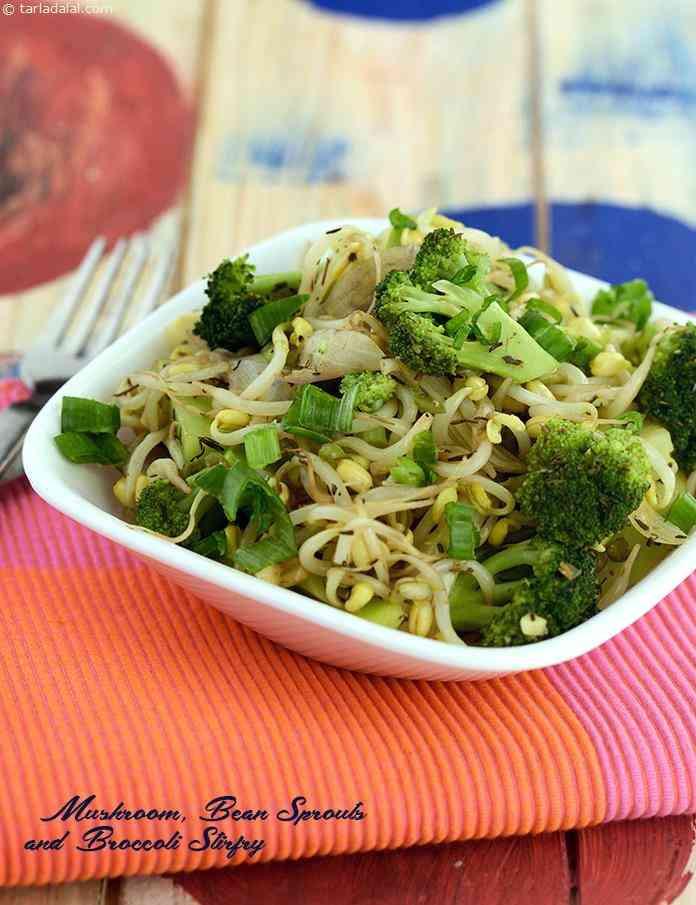 Diabetic Stir Fry Recipes  Mushroom Bean Sprouts and Broccoli Stir fry recipe