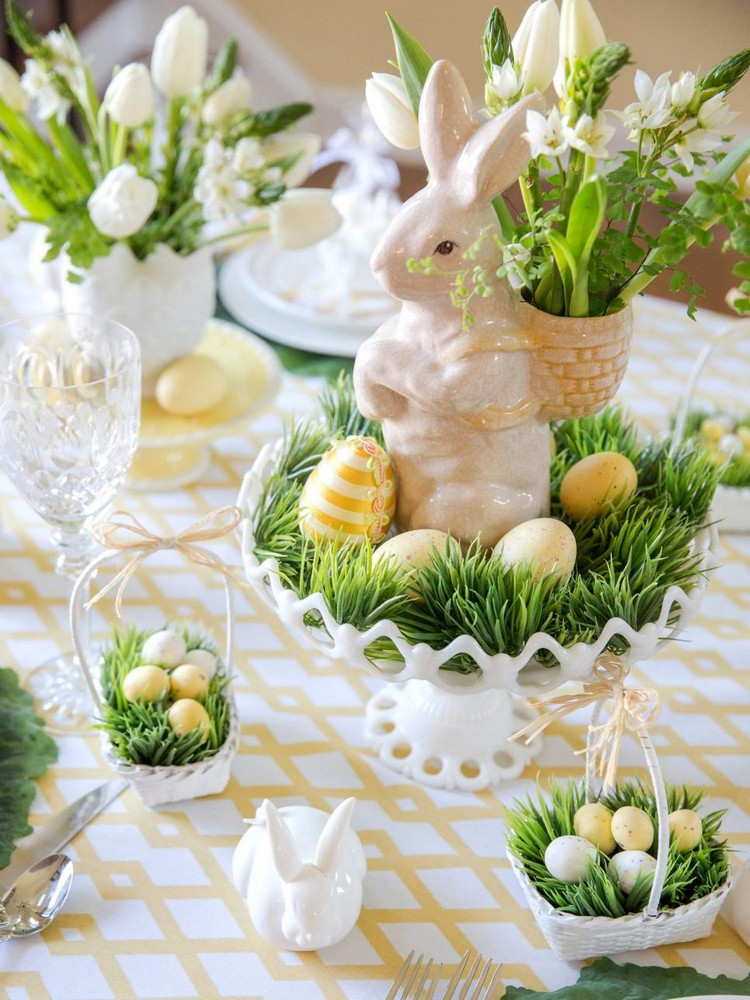 Easter 2019 Dinner  Frühlingsfarben für Oster Tischdeko Grün und Gelb
