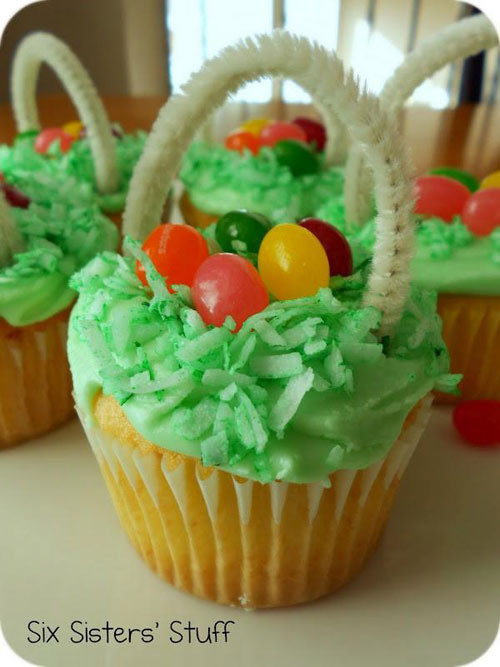 Easter Basket Cupcakes  35 Adorable Easter Cupcake Ideas