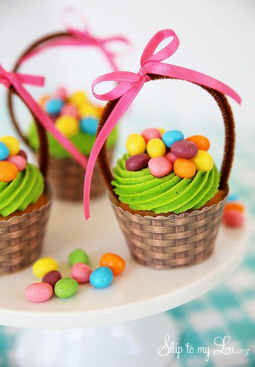 Easter Basket Cupcakes  35 Adorable Easter Cupcake Ideas