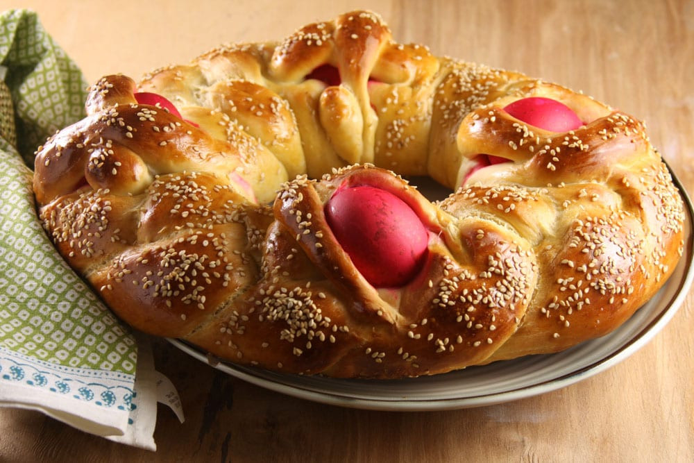 Easter Bread With Eggs  Lambropsomo Greek Easter Bread