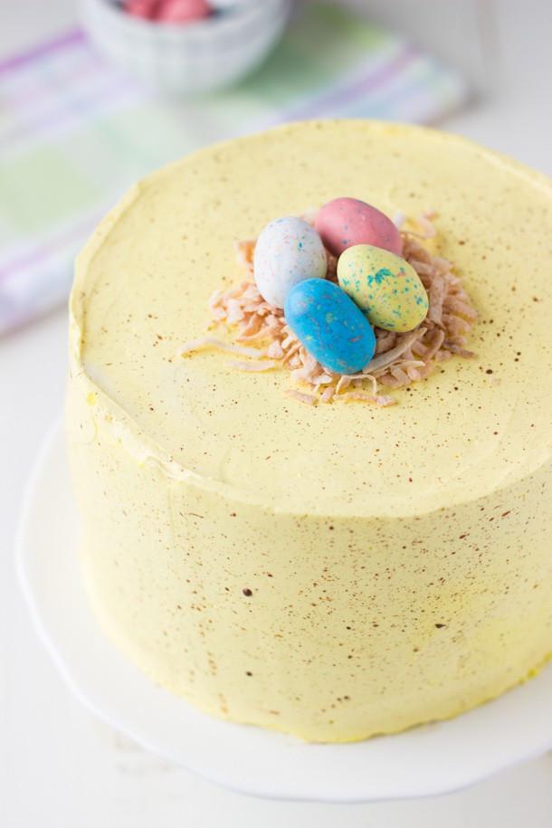 Easter Coconut Cake  Coconut Lemon Layer Cake Easter Speckled Egg Cake