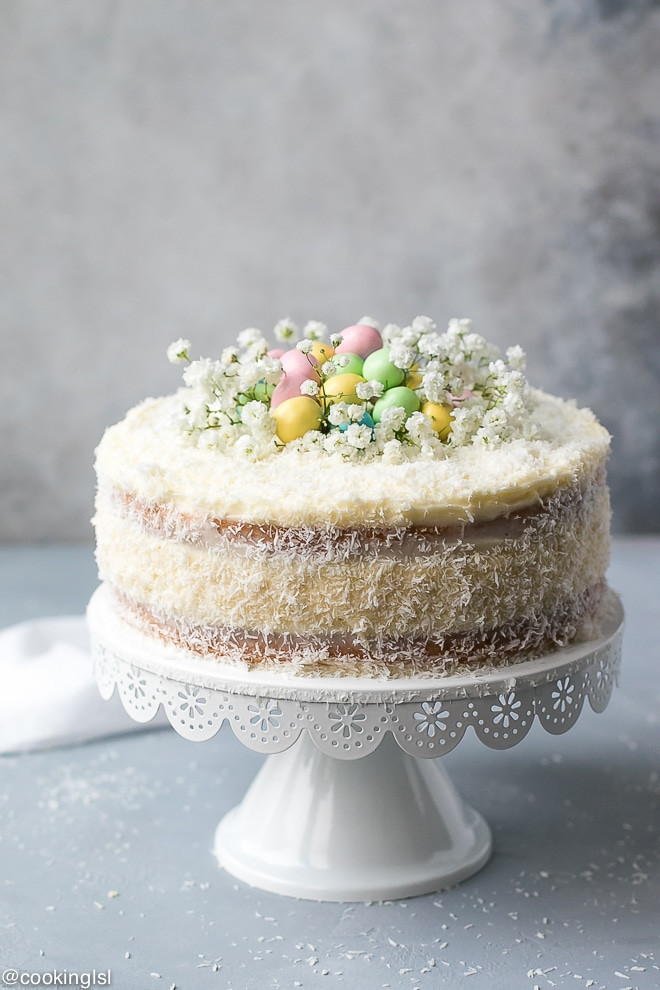 Easter Coconut Cake  Coconut Cheesecake Cake For Easter Cooking LSL