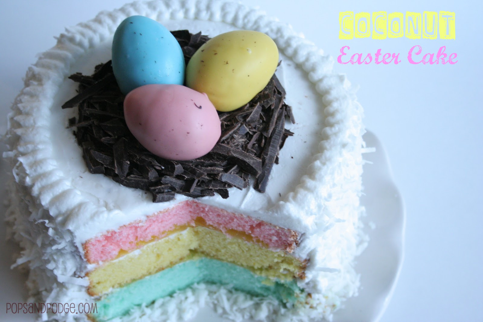 Easter Coconut Cake  Pops and Podge Coconut Easter Cake with 7 Cake Tips