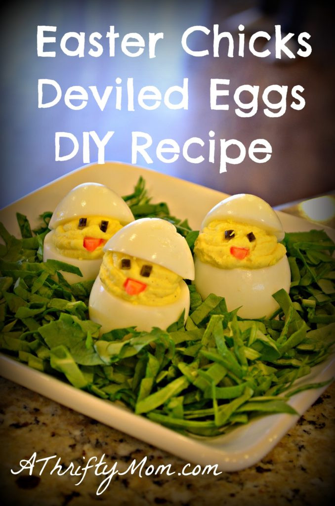 Easter Deviled Eggs Recipe  Easter Chicks Deviled Eggs DIY simple money saving