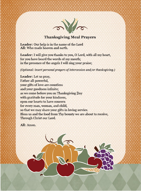 Easter Dinner Blessing  Thanksgiving Day Meal Prayers — Family in Feast and Feria