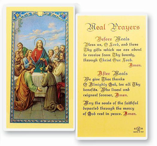 Easter Dinner Blessing  MEAL PRAYERS HOLY CARD
