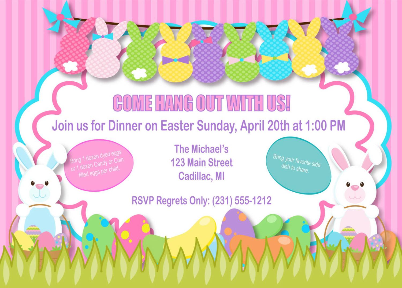 Easter Dinner Invitations  Bunnies Easter Invitation Bunnies Easter Party Invitation