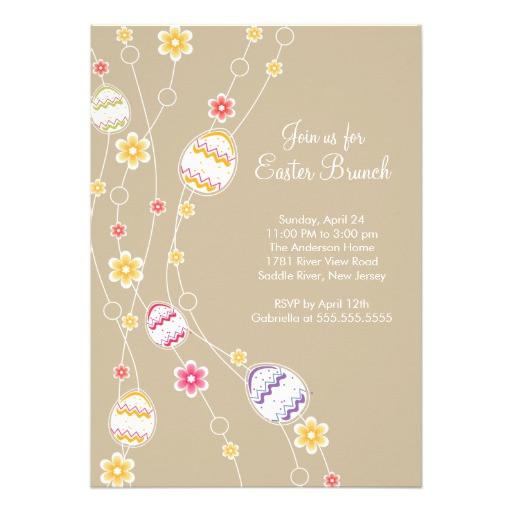 Easter Dinner Invitations  Easter Eggs Easter Brunch Dinner Party Invitation