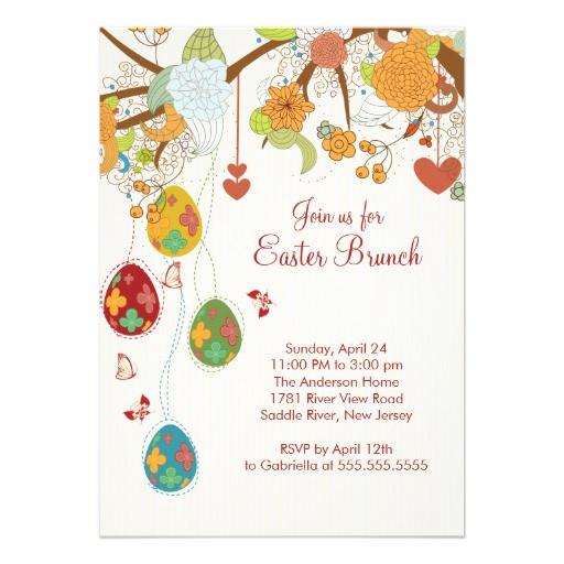"""Easter Dinner Invitations  Easter Egg Easter Brunch Dinner Party Invitation 5"""" X 7"""