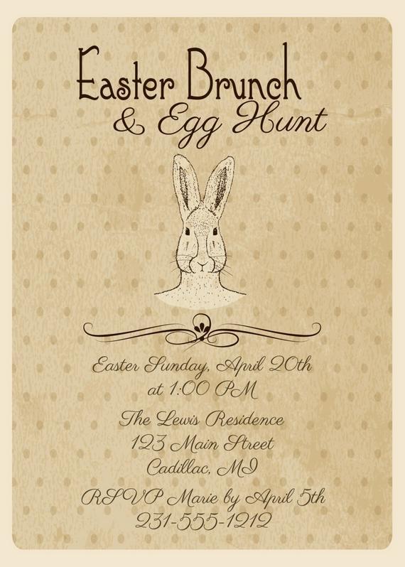 Easter Dinner Invitations  Vintage Easter Invitation • Easter Dinner Invitation