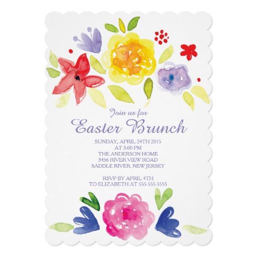 Easter Dinner Invitations  Watercolor Easter Brunch Dinner Party Invitation