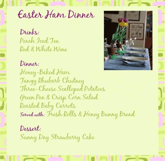 Easter Dinner Menu  Traditional Easter Dinner Menu