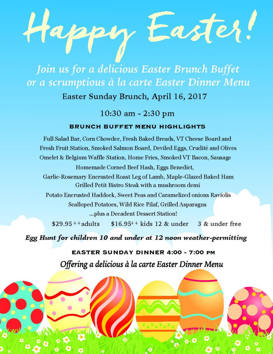 Easter Dinner Menu  Mt Anthony Country Club Grille 802 442 2617