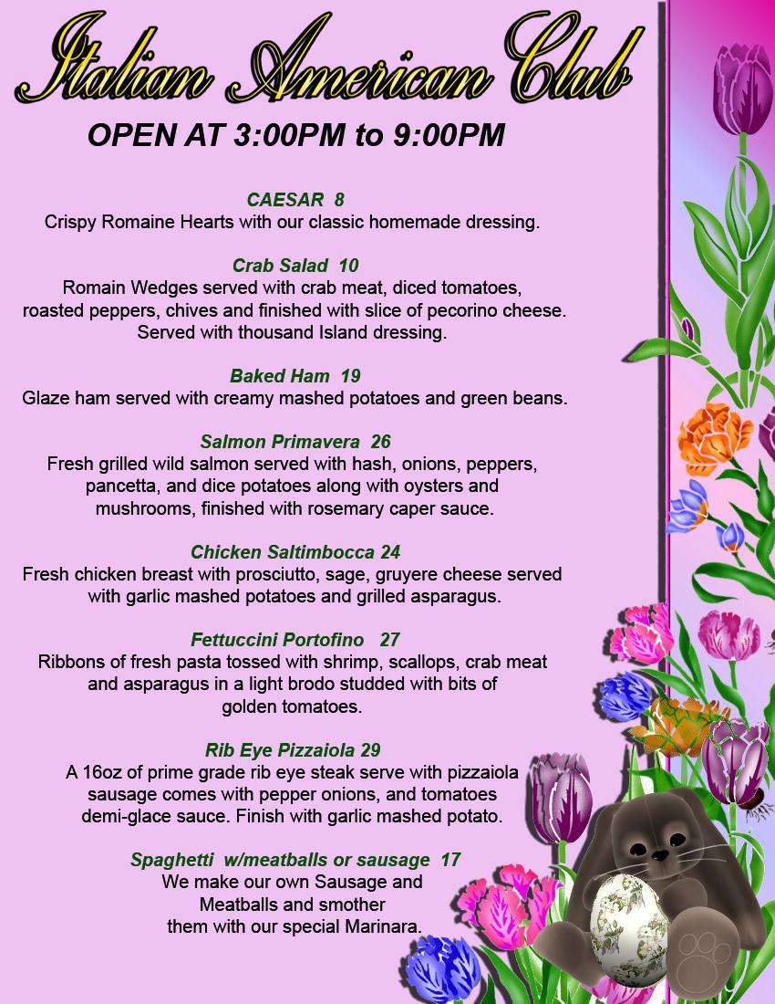 Easter Dinner Menu Traditional  Italian Restaurants At Italian American Club Las Vegas and