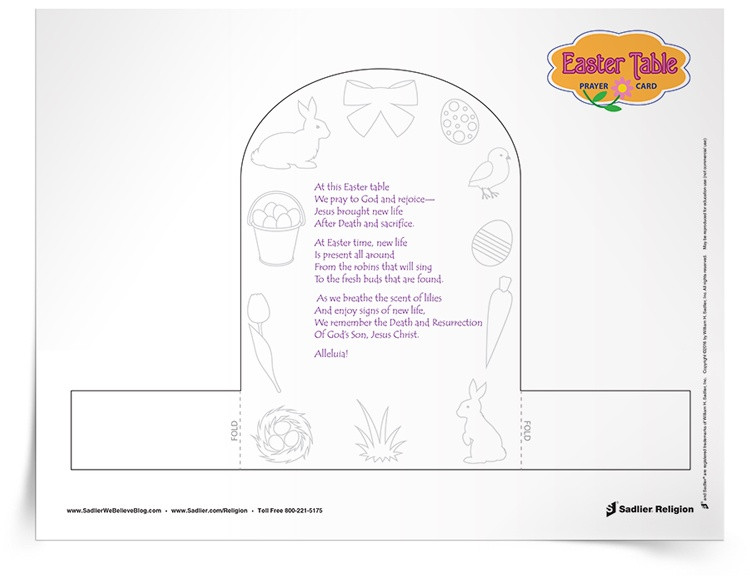Easter Dinner Prayer  Easter Meal Prayer Activity To Be Used Before Meals