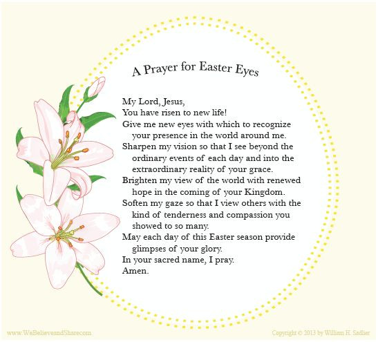 "Easter Dinner Prayer  We invite you to a ""Prayer for Easter Eyes"" and"