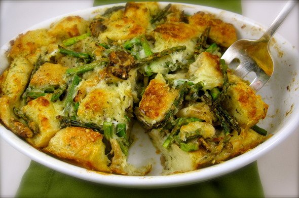 Easter Dinner Sides With Ham  Asparagus Bread Pudding is the perfect spring side dish to