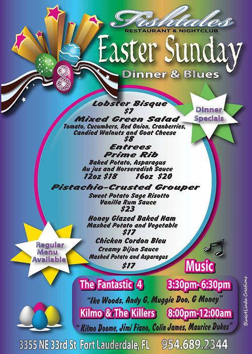 Easter Dinner Specials  Easter Dinner Special Menu Fishtales Restaurant & Nightclub