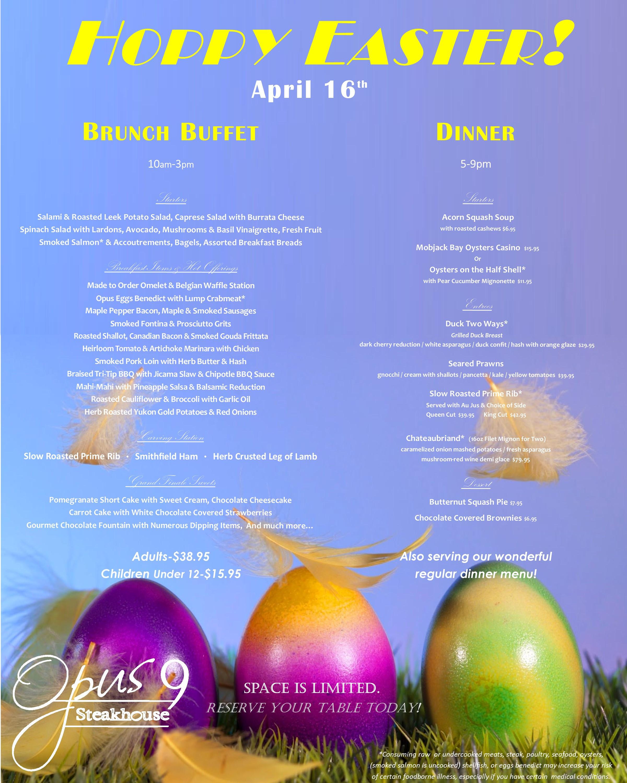 Easter Dinner Specials  Easter Dinner Specials at Opus 9 Steakhouse