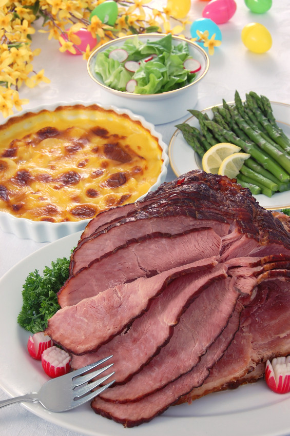 Easter Ham Dinner  Bourbon Glazed Ham and Creamy Sweet Potato Gratin for