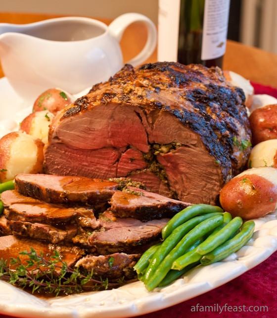 Easter Lamb Dinner  Roasted Boneless Lamb with Red Wine Pan Sauce
