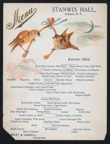 Easter Lamb Menu  Easter Menus From History Spring Lamb to Sea Turtle