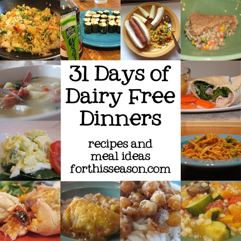 """Easy Dairy Free Dinners  31 Days of Dairy Free Dinners simple """"duh"""" meals but"""