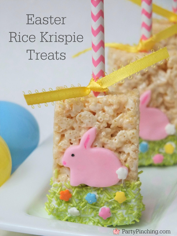 Easy Easter Desserts For Kids  Easy Easter Rice Krispie Treat Pops for kids fun dessert
