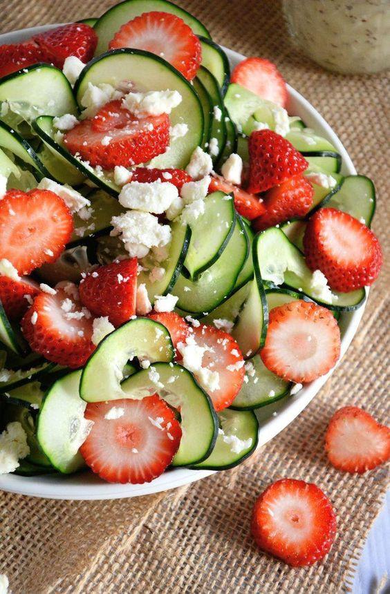 Easy Easter Salads  Cucumber & Strawberry Poppyseed Salad Recipe