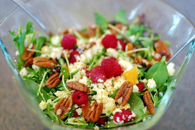 Easy Easter Salads  Pretty salad with raspberries pecans and apricot stilton