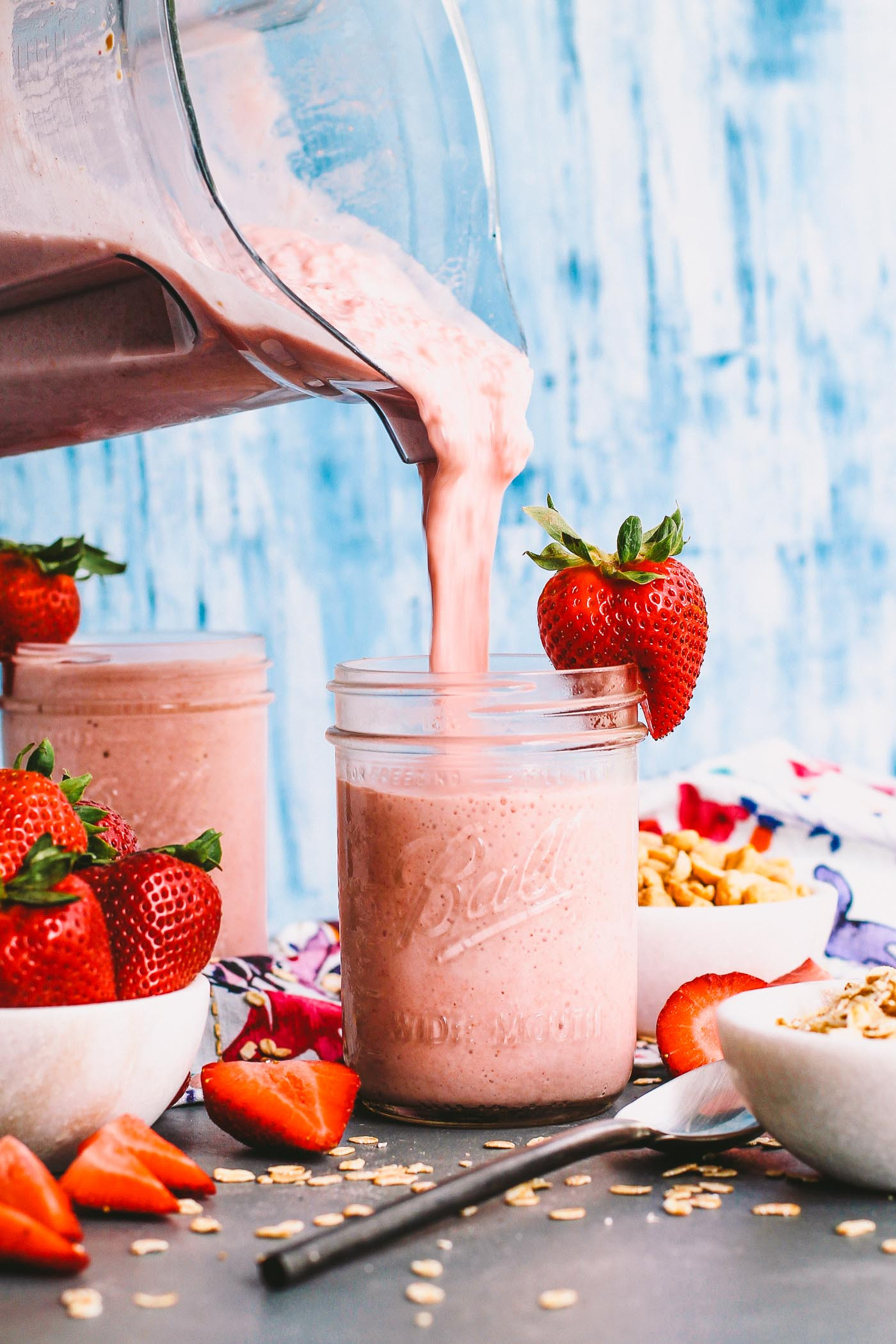 Easy Healthy Breakfast Smoothies  strawberry pb&j protein smoothies plays well with butter