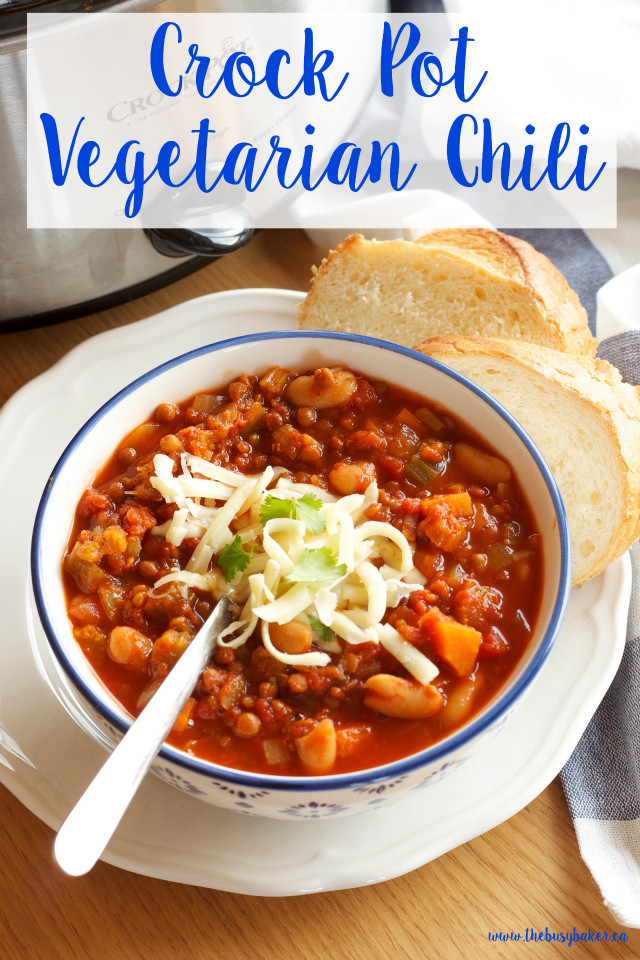 Easy Vegan Crock Pot Recipes  Crock Pot Ve arian Chili Slow Cooker The Busy Baker