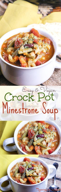 Easy Vegan Crock Pot Recipes  Easy & Ve arian Crock Pot Minestrone Soup recipe