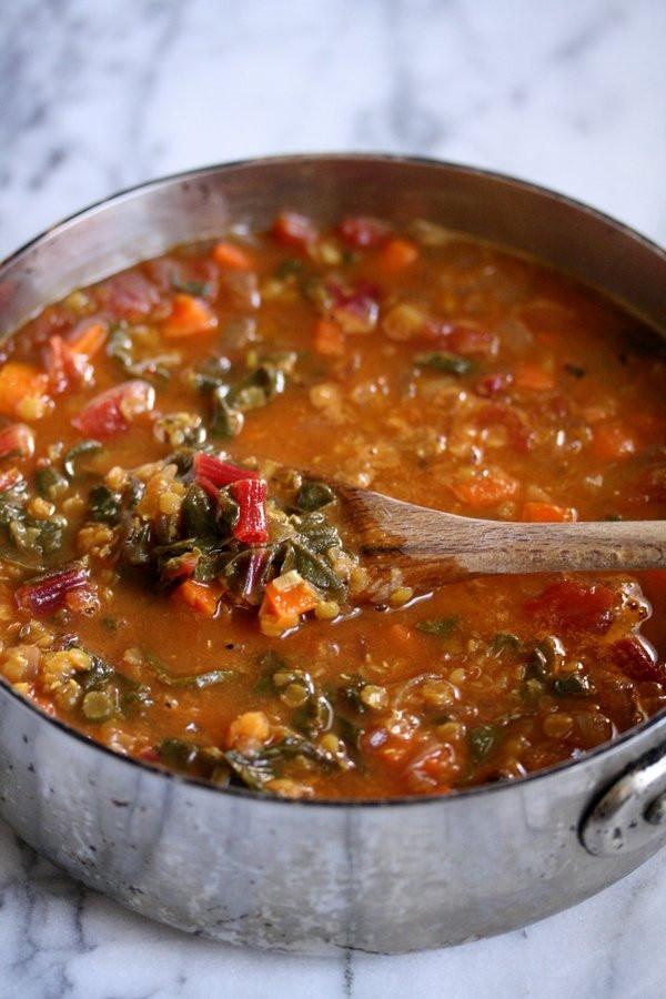 Easy Vegan Lentil Recipes  Moroccan Red Lentil Soup with Chard